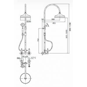 Душевой комплект механический внешний 2-х функциональный  Bianchi FIRST