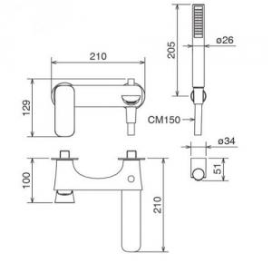 Смеситель для ванны в комплекте с лейкой La Torre LAGHI