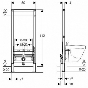 Комплект инсталяции для подвесного биде 2в 1 Geberit DUOFIX