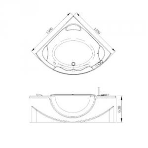 Акриловая ванна с окном VOLLE 150x150 cм.